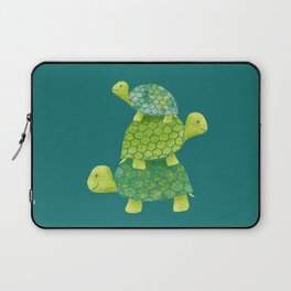 Turtle Stack Family in Teal and Lime Green Laptop Sleeve