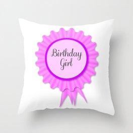 Birthday Girl Rosette Throw Pillow
