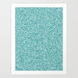Spacey Melange - White and Dark Cyan Art Print
