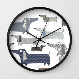Wiener Dog Pattern Wall Clock