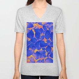 Supercontrast, Pop of Color Ultraviolet Nature, Floral Graphic Design Unisex V-Neck
