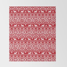 Westie fair isle west highland terrier christmas holiday gifts dog pattern Throw Blanket