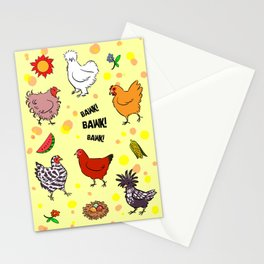 Cute seamless chickens pattern cartoon Stationery Cards