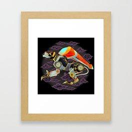 Black Lion Batik Framed Art Print