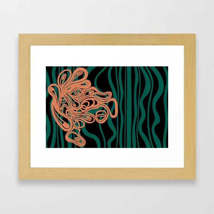 Teal and Coral Amorph Framed Art Print