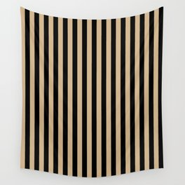 Tan Brown and Black Vertical Stripes Wall Tapestry