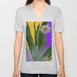 PURPLE DESERT CACTI & FLOWERS Unisex V-Neck