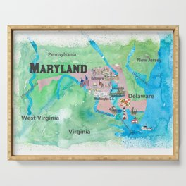 USA Maryland State Travel Poster Map with Touristic Highlights Serving Tray