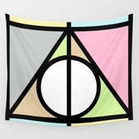 deathly hallows Wall Tapestries featuring Geometric Deathly Hallow by Pati Designs