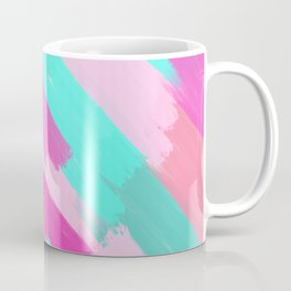Girly Artsy Pink Teal Coral Brushstrokes Pattern Coffee Mug