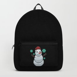 Funny Golf Ball Snowman With Santa Hat Golfer Gift Backpack
