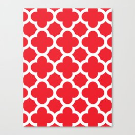 Red Quatrefoil Canvas Print