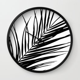 Palm Leaves I Black & White Wall Clock