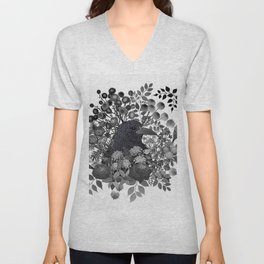 Raven in the Garden of Departed Botanicals Unisex V-Neck