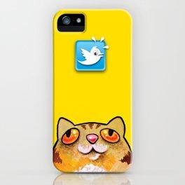 Cat love twitter bir yellow iPhone Case
