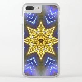 Glistening Golden Star Clear iPhone Case