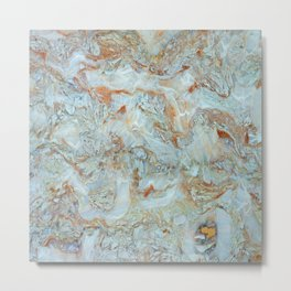 Marble in shades of blue and gold Metal Print
