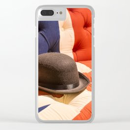 Black Bowler Hat on Union Jack Chesterfield Sofa Clear iPhone Case
