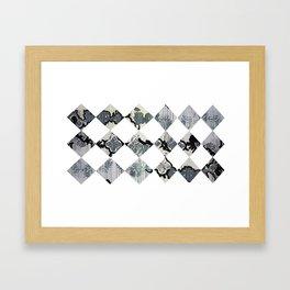 Diamonds, Black and White Framed Art Print