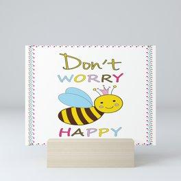Don't worry BEE Happy Bees Mini Art Print