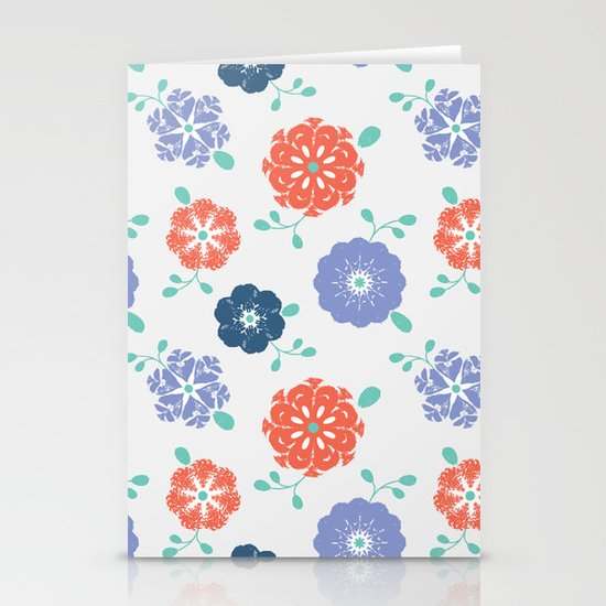 Block Print Flowers Stationery Cards