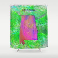 alabama Shower Curtains featuring Alabama Map by Roger Wedegis