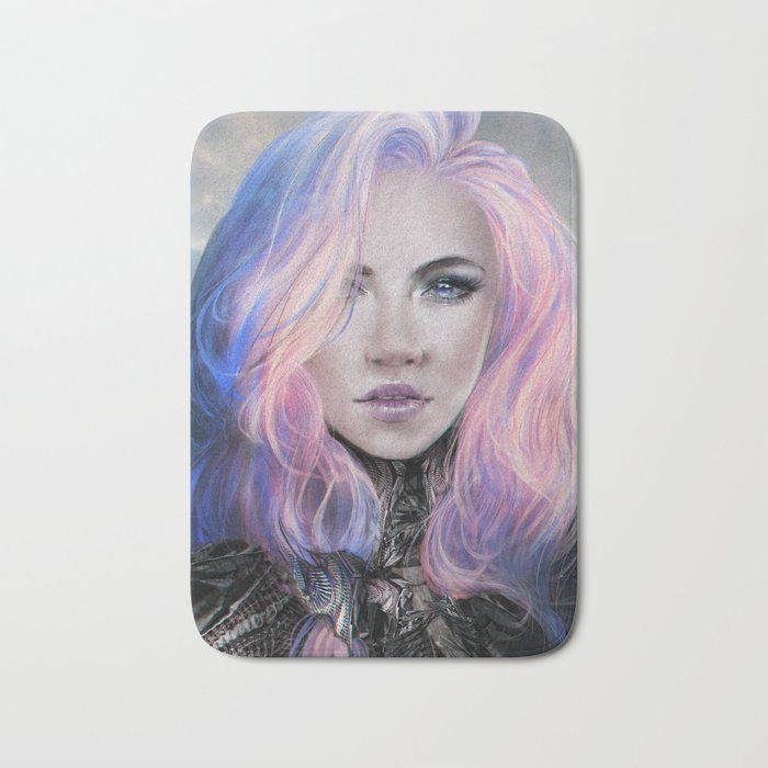 Ambrosial - Futuristic sci-fi girl with pink hair portrait Bath Mat