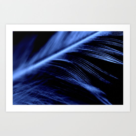 Blue Feather close up Art Print