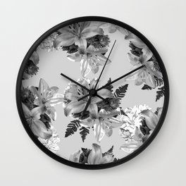 GRAY LILY WHITE ROSE FLORAL PATTERN 2020 Wall Clock