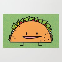 taco Area & Throw Rugs featuring Happy Taco by Berenice Limon