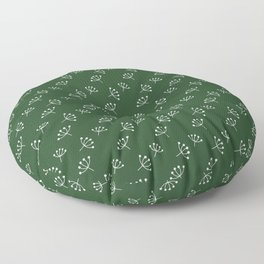 Dark Green And White Queen Anne's Lace pattern Floor Pillow