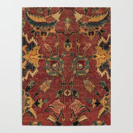 Flowery Boho Rug III // 17th Century Distressed Colorful Red Navy Blue Burlap Tan Ornate Accent Patt Poster