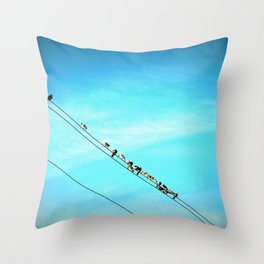 Birds on a Line fine art photography Throw Pillow