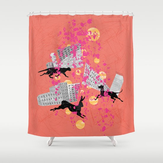 Weird city sunset shower curtain by juni society6 for Weird shower curtains
