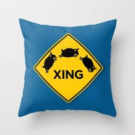 Sheep XING Blue Throw Pillow