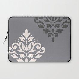 Scroll Damask Art I Cream & Grays Laptop Sleeve
