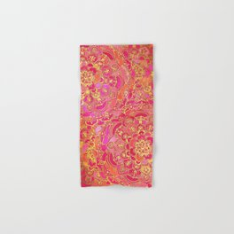 Hot Pink and Gold Baroque Floral Pattern Hand & Bath Towel
