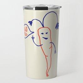 Eat your veggies - Royal blue and orange illustration Travel Mug