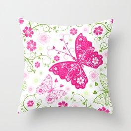 pink butterfly flower pattern Throw Pillow