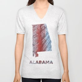 Alabama map outline Red blue watercolor Unisex V-Neck