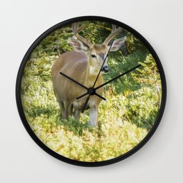 Stag at Mt Rainier Wall Clock