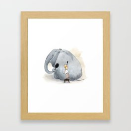 Brushing Elephant Framed Art Print