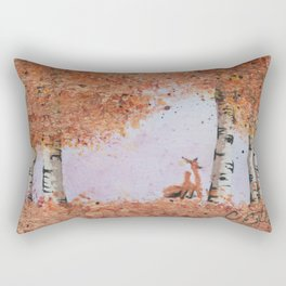 Autumn Birch Fox Rectangular Pillow