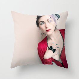 """Who Me?"" - The Playful Pinup - Red and Black Pin-up Girl by Maxwell H. Johnson Throw Pillow"