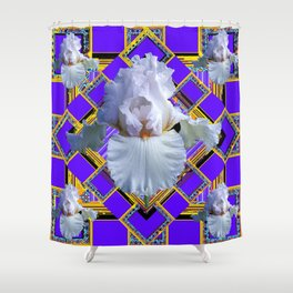 ART DECO WHITE IRIS PURPLE ART Shower Curtain