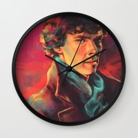 study Wall Clocks featuring A Study in Pink by Alice X. Zhang