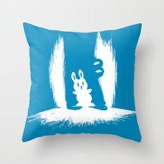 cornered! (bunny and crocodile) Throw Pillow