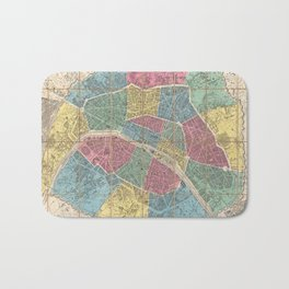 Vintage Map of Paris France (1863) Bath Mat