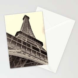 The famous Eiffel Tower in Paris, France in sepia. Vintage photography Stationery Cards