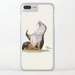 Sea Lion Watercolor Clear iPhone Case